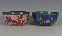PAIR CLOISONNE BOWLS, EARLY 20th C.