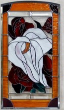 FLOWING LILY & ROSES STAINED GLASS PANEL BY GORGIA O'KEEFE