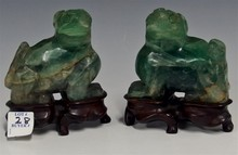 PAIR CHINESE FOO DOGS, GREEN FLUORITE QUARTZ, CUSTOM ROSEWOOD STANDS