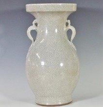 CHINESE CRACKLE-GLAZED VASE WITH DRAGON HANDLES