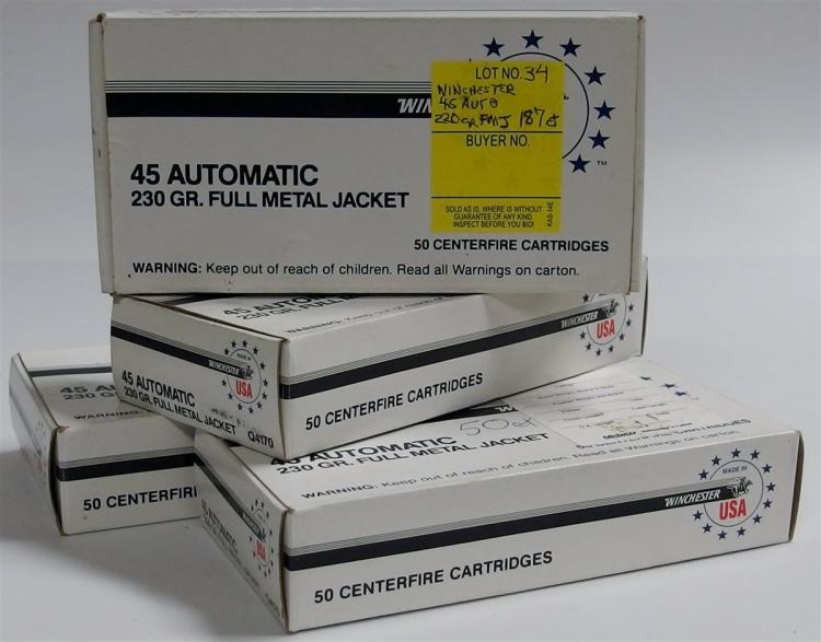 187 Rounds Winchester 45 Auto 220gr Full Metal Jacket