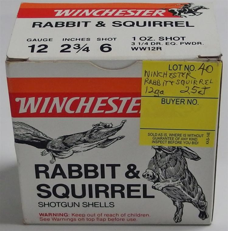 25 Rounds Winchester Rabbit & Squirrel 12g Shells