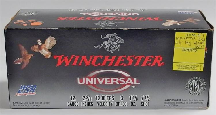 "Lot 47: 100 Rounds Winchester 12g 2-3/4"" 1-1/8oz 7-1/2gr"