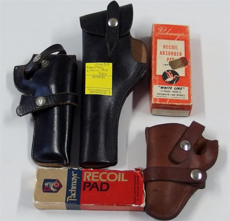 Lot of 5 - 3 Leather Holsters, 2 Packmayr Recoil Pads