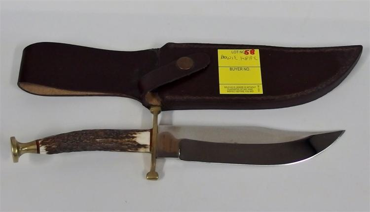 "Bowie Knife w/ Bone & Brass Handle 11-1/2"", Leather Sheath"