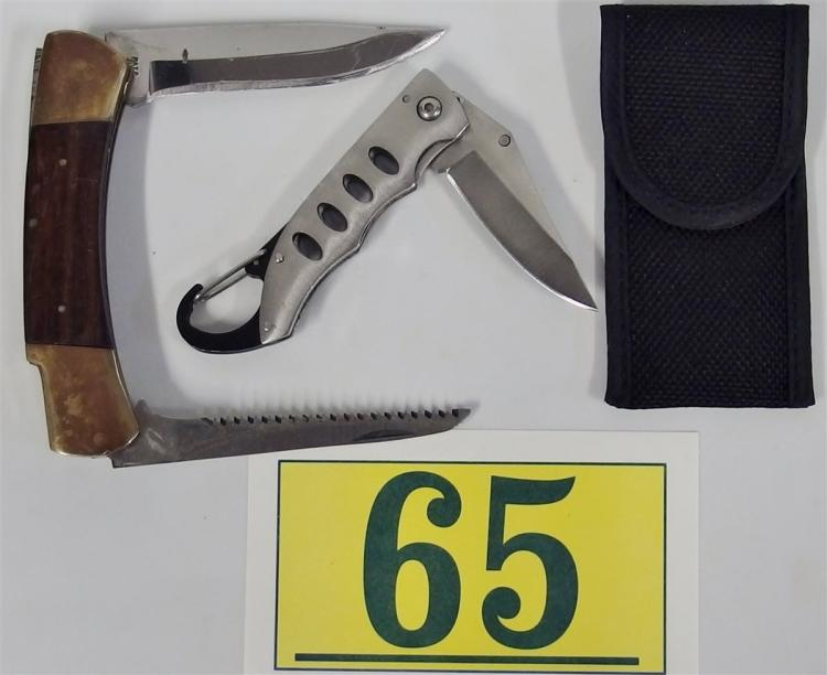 Lot of 2 Knives - Japan Wood & Brass with Straight & Serrated Blades, Stainless with Canvas Sheath