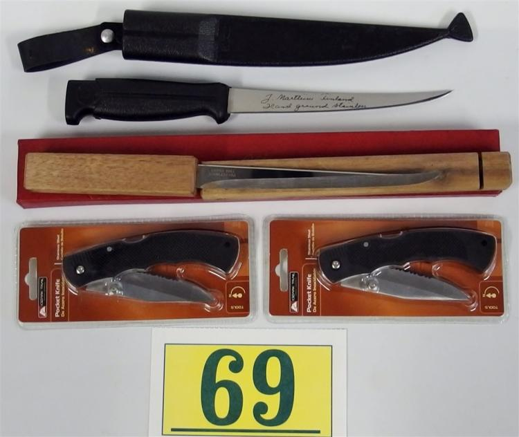 Lot of 4 Knives - 2 Fillet, 2 Ozark Trail