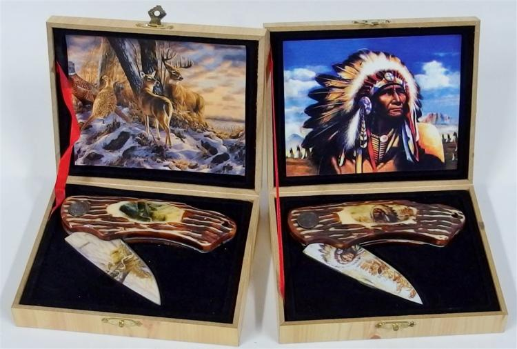 Lot of 2 Knives - Indian & Wildlife in Wooden Display Box