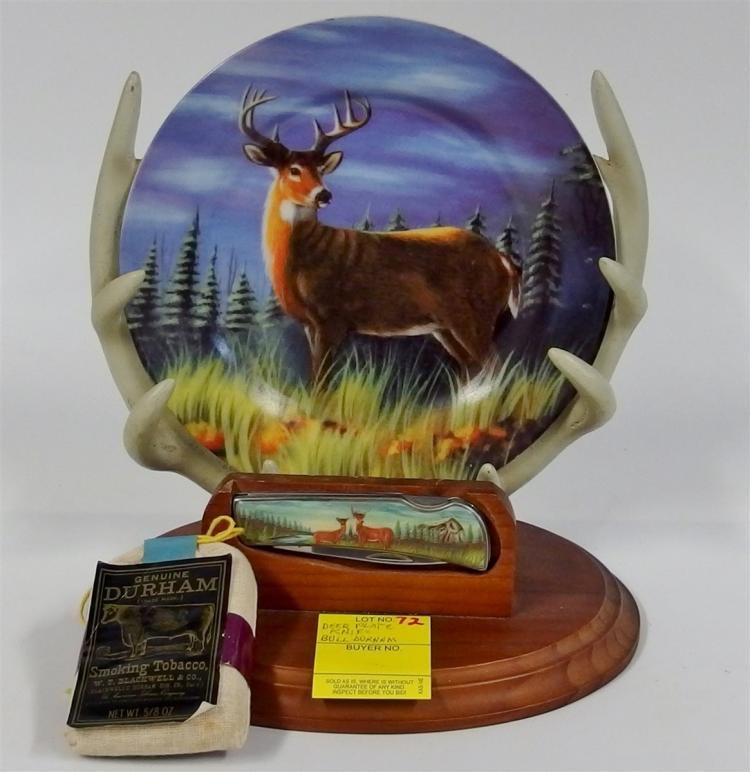 Lot of 2- Collectible Deer Plate w/ Knife on Display Rack, Bill Durham Cloth Tobacco Pouch