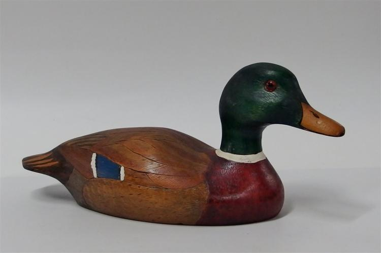 Vintage Mallard Wooden Carved Decoy, Decatur, GA Signed John LaBoon 1985 12-1/2""