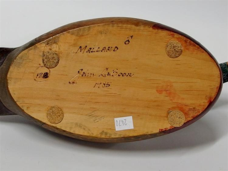 "Lot 73: Vintage Mallard Wooden Carved Decoy, Decatur, GA Signed John LaBoon 1985 12-1/2"""