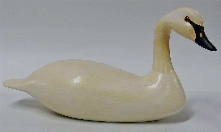 Vintage Whistling Swan Wooden Carved Decoy, Decatur, GA Signed John LaBoon 1987 15""