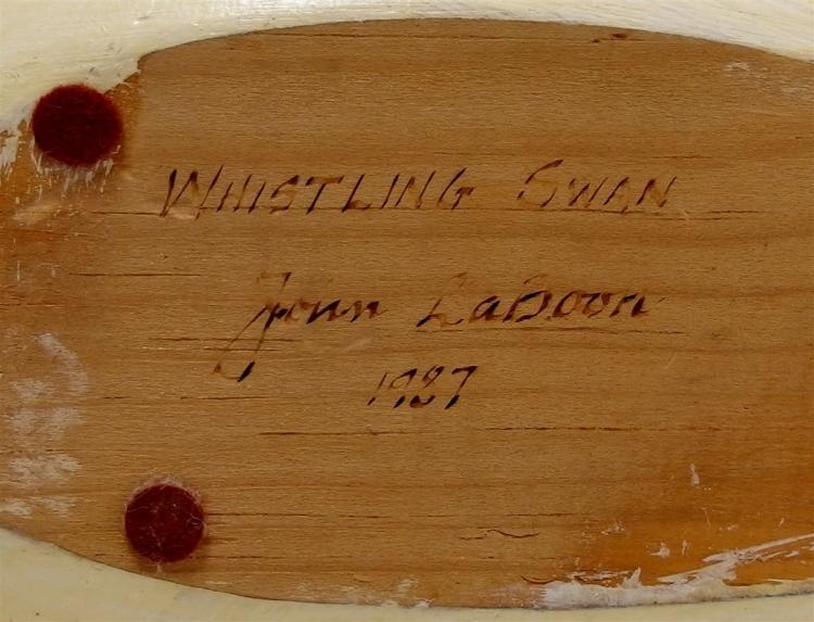 """Lot 76: Vintage Whistling Swan Wooden Carved Decoy, Decatur, GA Signed John LaBoon 1987 15"""""""