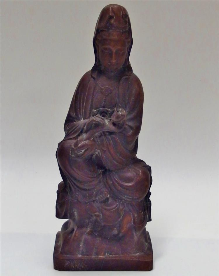 Carved Wooden Seated Kwan-yin 9-1/2H