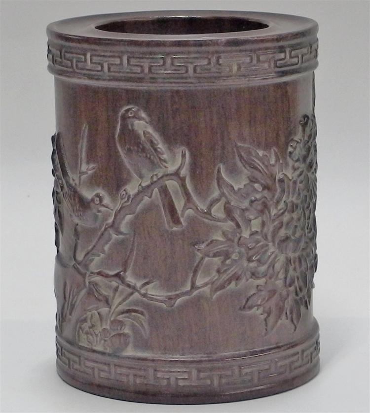 "Carved Wood Brush Pot with Birds & Chrysanthemums, 6""H"