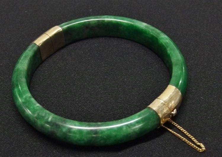 Lot 85: Green Jade Bracelet with Goldtone Hinged with Box Clasp, Not marked