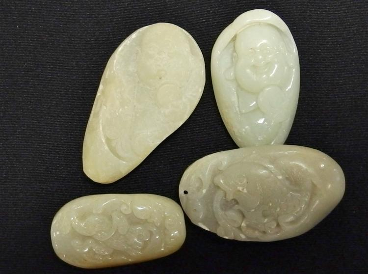 Lot of 4 - Carved Jade Pendants, Buddha & Fish, 1-1/2 - 2""
