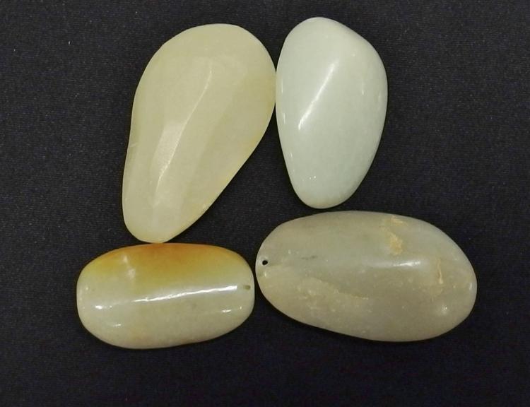 "Lot 86: Lot of 4 - Carved Jade Pendants, Buddha & Fish, 1-1/2 - 2"""