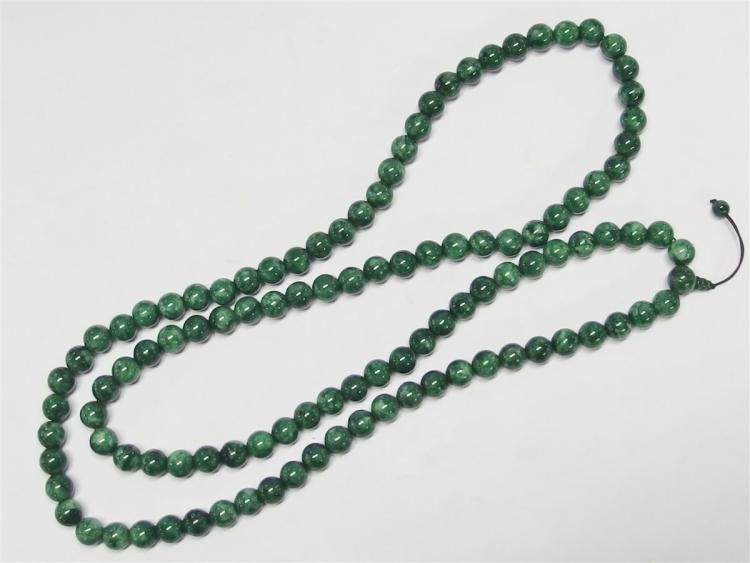 "108 Green Jade Bead Necklace, 64""L"