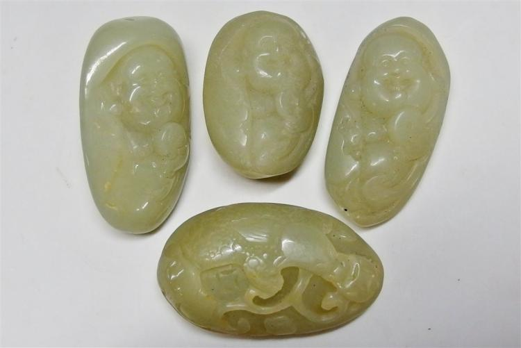 Lot of 4 - Carved Jade Pendants, Buddha & Dragon, 1-1/2 - 2""