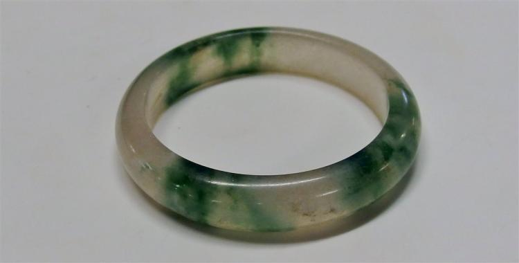 "Green & White Jade Bangle, 2-1/4"" interior diameter"
