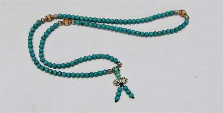 Turquoise Color Stone Necklace, 26L