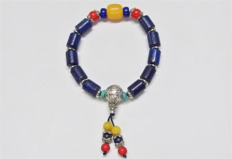 "Lapis Lazuli Beaded Bracelet, 7"" Expandable"