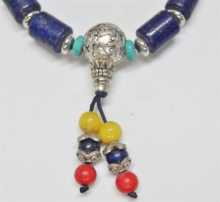 """Lot 102: Lapis Lazuli Beaded Bracelet, 7"""" Expandable"""