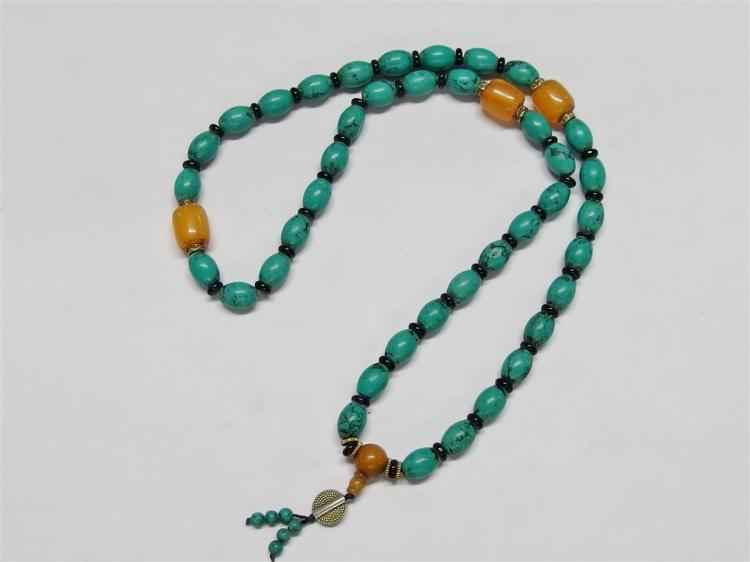 Turquoise Blue Stone Beaded Necklace, 34L