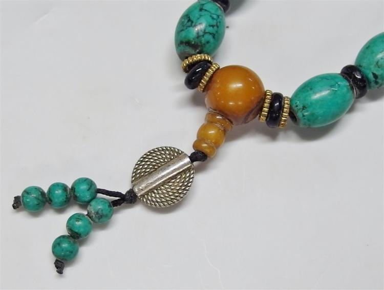 Lot 103: Turquoise Blue Stone Beaded Necklace, 34L