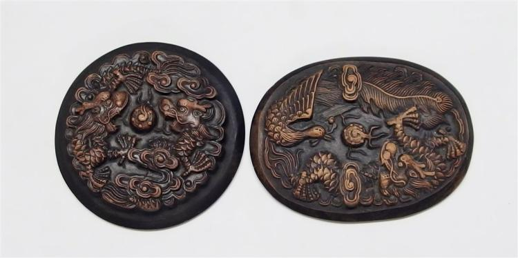 "Lot of 2 - Carved Stone Dragon Paperweights, 5"" Oval, 4"" Round"