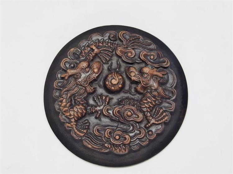 """Lot 105: Lot of 2 - Carved Stone Dragon Paperweights, 5"""" Oval, 4"""" Round"""