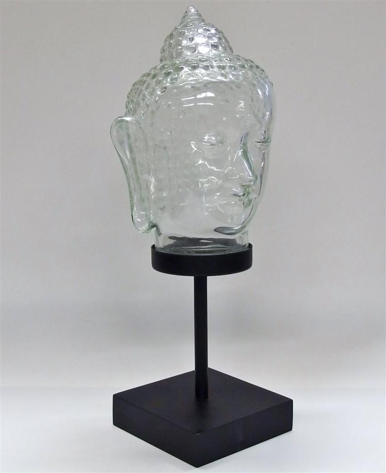 Lot 106: Clear Glass Buddha Head on Stand, 15H