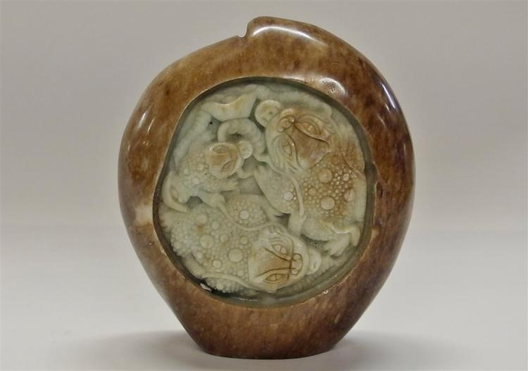 Carved Jade Dragon Paperweight, Peach Shaped, 3-1/2H