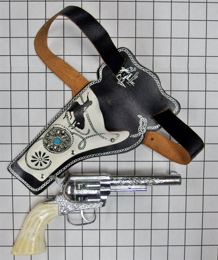 "Toy Cap Gun - 1970 Hubley/Gabriel PONYBOY, White Stag Grips, 10""L, Bronco Buster Holster"