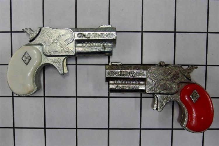"Toy Cap Gun - (2) Halco 1960 Leslie Henry DERRINGERS, Red Grip, White Grip, 3""L"