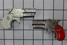 "Lot 2: Toy Cap Gun - (2) Halco 1960 Leslie Henry DERRINGERS, Red Grip, White Grip, 3""L"