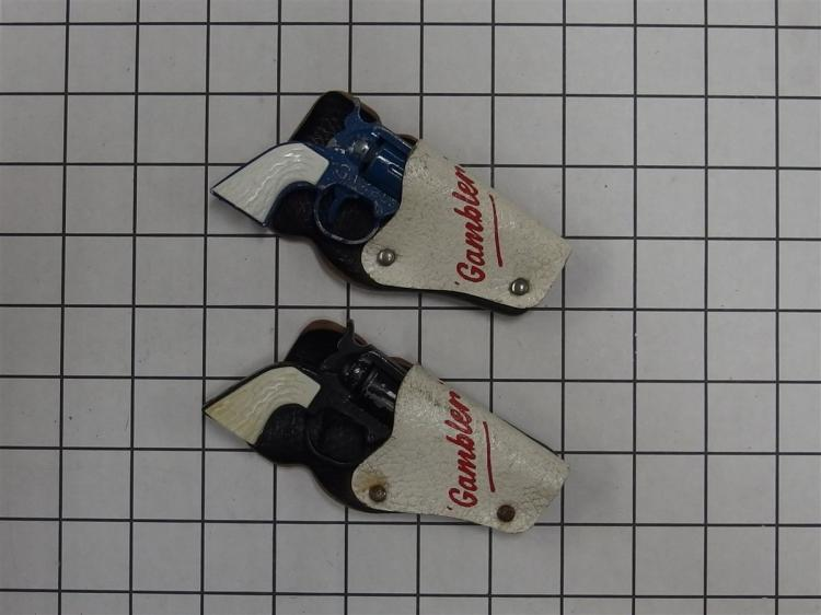 "Toy Cap Gun – (2) Lone Star GAMBLER Derringer, Blue, Black, 3-1/2""L , Clip on Leather Holsters"