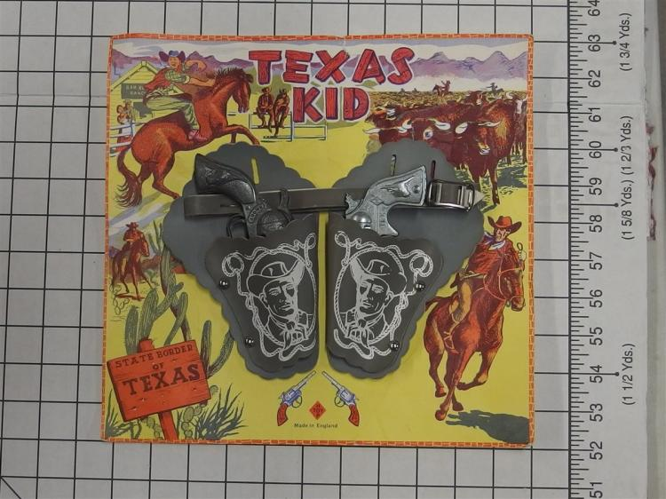 "Toy Cap Gun –TEXAS KID Grey Leather Holsters (1) SMOKY Derringer 5-1/2""L , (1) TEX Derringer 3-3/4"""