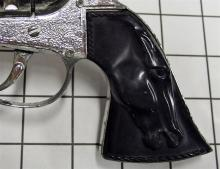 "Lot 6: Toy Cap Gun – BIG SIX GUN By Lone Star, England, Black Horse Head Grips 11""L, YOUNG BUFFALO BILL Holster"