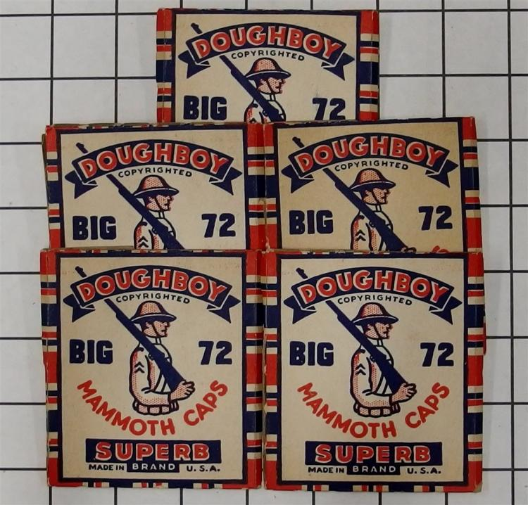 "Toy Gun Paper Caps – 5 DOUGHBOY Big 72 Monmouth Caps, Superb Brand, 3"", with Contents."