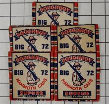 "Lot 9: Toy Gun Paper Caps – 5 DOUGHBOY Big 72 Monmouth Caps, Superb Brand, 3"", with Contents."