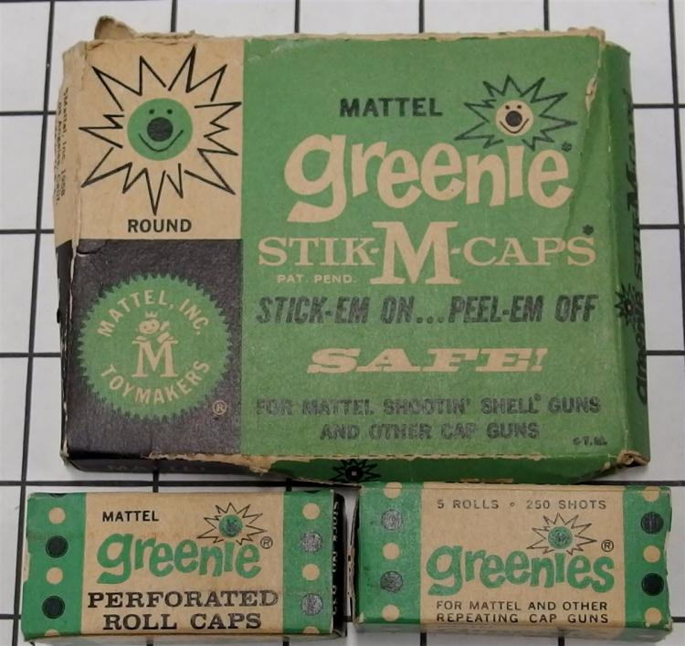 Toy Gun Paper Caps – 3 Boxes Mattel 1958 GREENIE Stik-M-Caps #634, GREENIES Repeating Rolls  #635 with Contents
