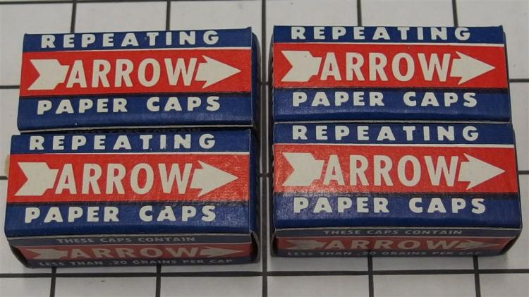 Toy Gun Paper Caps – 4 Boxes ARROW Repeating Rolls with Contents
