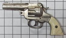 "Lot 17: Toy Cap Gun - 1940 Stevens BANG-O Cast Iron Repeater, Horse, Cowboy & Six-shooter Grips, 7""L"