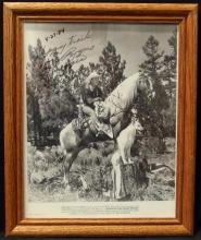 Lot 18: Western Movie Star Photos – Signed ROY ROGERS, TRIGGER & BULLET, North of the Great Divide, 8x10 B&W
