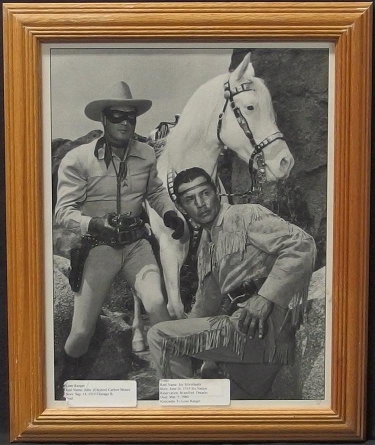 Lot 21: Western Movie Star Photo – LONE RANGER, TONTO & SILVER, Clayton Moore, Jay Silverheels, 11x14 B&W