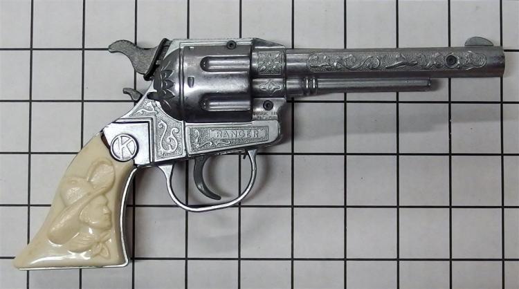 """Toy Cap Gun – 1950-55 RANGER Kilgore, White Cowboy Busts, Circle K Medallion, 9""""L"""