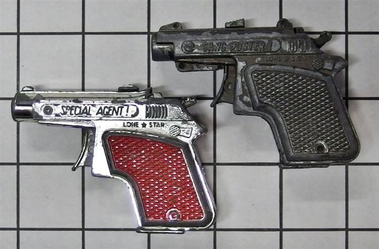 """Toy Cap Gun – (2) Lone Star SPECIAL AGENT Derringer, Red, GANG BUSTER Derringer, Black, 3-1/4""""L"""