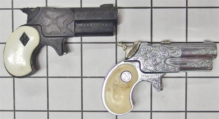 """Toy Cap Gun- (2) Halco 1960 Leslie Henry DERRINGER, White Grip, Nichols DYNA-MITE Derringer, White Grip, 3-1/2""""L"""